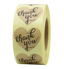 500Pcs/roll kraft Heart thank you Stickers seal labels cute stickers DIY craft for Package scrapbooking sticker stationery