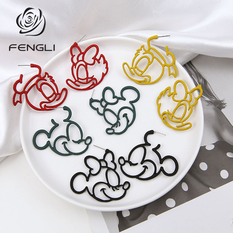 FENGLI Colorful Mickey Stud Earrings for Women Donald Duck Cute Red Earring Lady Mouse Jewelry Birthday Friend Best Gift image