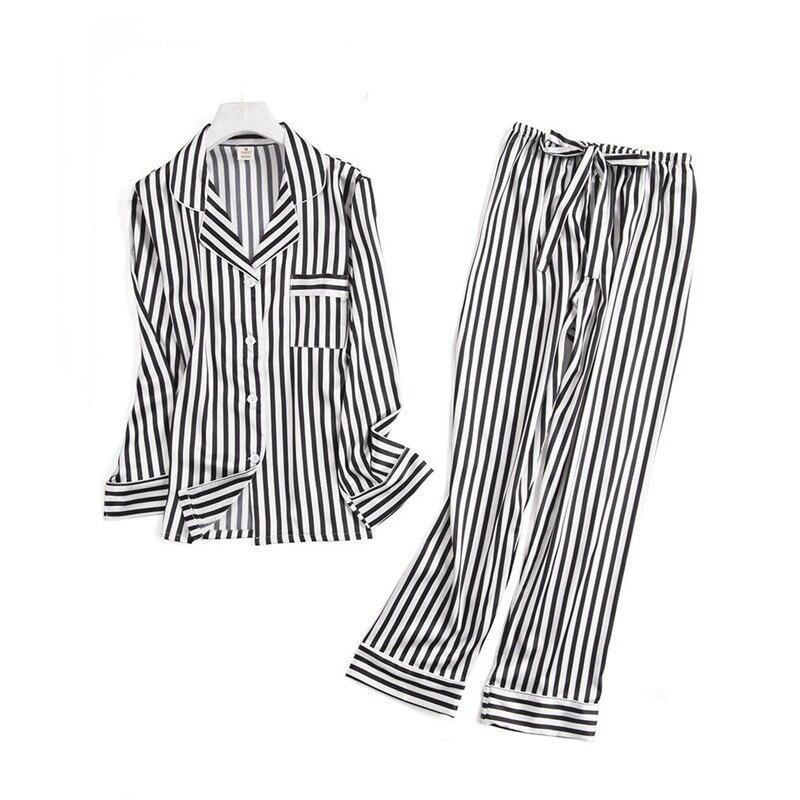 Image 3 - Black white stripes pajama sets women long sleeve casual sleepwear fashion women pyjamas autumn homewear hot sale 2019Pajama Sets   -