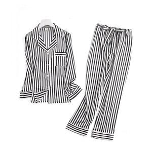 Image 3 - Black white stripes pajama sets women long sleeve casual sleepwear fashion women pyjamas autumn homewear hot sale 2019