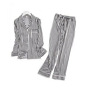 Image 3 - 블랙 화이트 줄무늬 잠옷 세트 여성 긴 소매 캐주얼 잠옷 패션 여성 잠옷 가을 homewear 뜨거운 판매 2019
