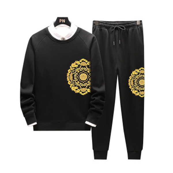 Men Casual Hoodies Floral Gym Walk Jogging Sport Tracksuit Coat Jacket Trousers Pants Suit Spring Fall Outfit 2PC