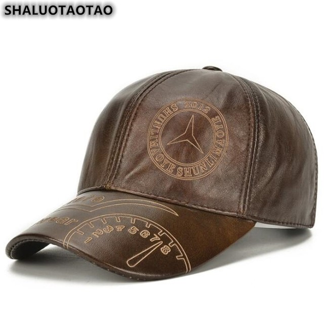 SHALUOTAOTAO Snapback Cap Quality Cowhide Genuine Leather Hat Men Autumn Winter New Thermal Adjustable Size Brands Baseball Caps 1