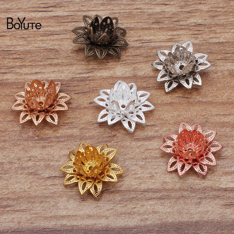 BoYuTe (50 Pieces/Lot) 16MM Metal Brass Three-layer Filigree Lotus Materials Handmade Diy Jewelry Accessories
