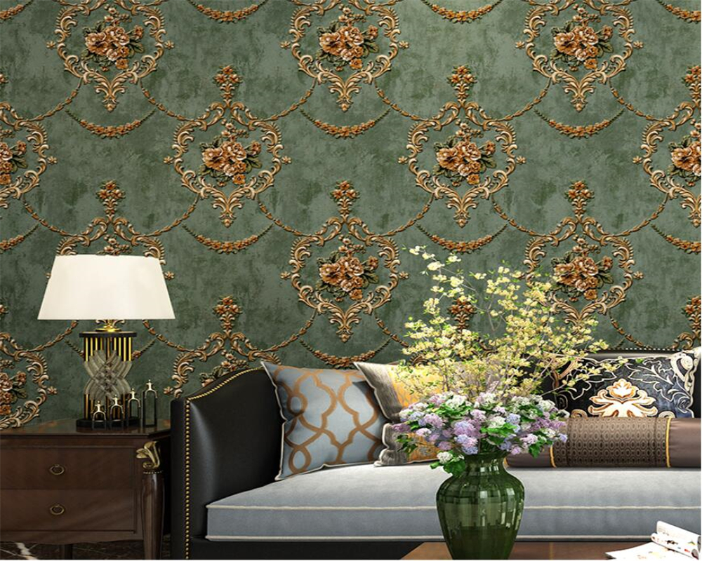 Beibehang European Pastoral Thick Relief Non-woven Wallpaper Living Room Bedroom Villa Atmospheric Background Wall 3d Wallpaper