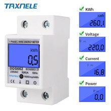 Medidor de energia do consumo de energia kwh ac 230v 50hz 110v 60hz do wattmeter da indicação digital do lcd do fio da fase monofásica retroiluminado