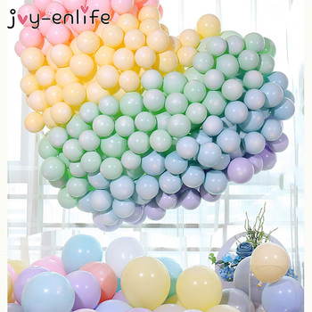 100ps 10inch Macaron Candy Pastel Latex Balloons Rainbow Unicorn Birthday Party Air Balloon Wedding Baby Shower Party Decoration 100pcs 10inch latex balloon macaron color ins style for wedding decoration balloons birthday party baby shower party supplies
