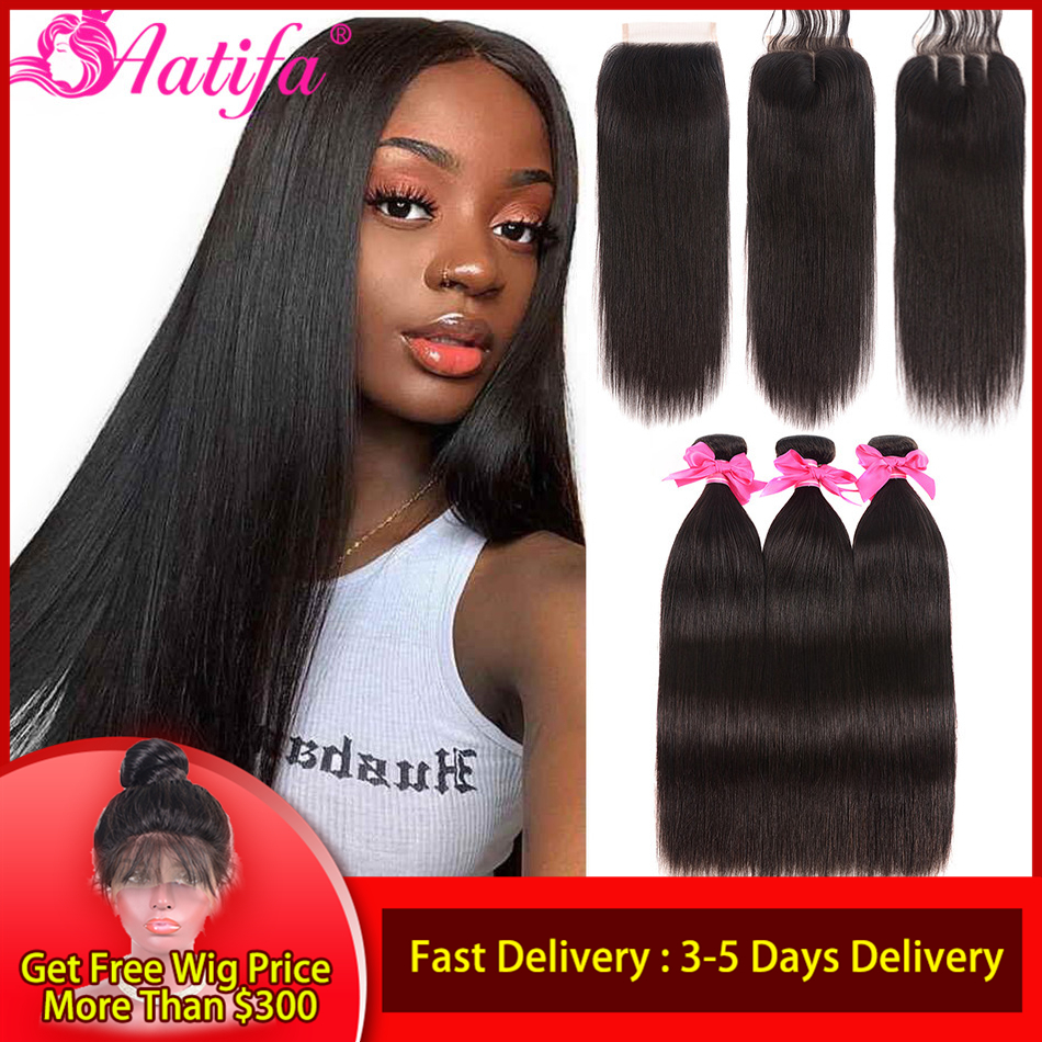 Brazilian Straight Hair Bundles With Closure Human Hair Bundles With Closure Remy Bundles With Closure Aatifa Hair Extension