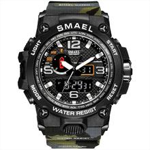 Zegarek Smael mężczyźni 1545 moda kamuflaż wojskowy sport zegarki 50m wodoodporny S Shock zegarki kwarcowe Relogio Masculino tanie tanio WoMaGe 24cm Moda casual QUARTZ Podwójny Wyświetlacz Cyfrowy 5Bar Klamra CN (pochodzenie) Akrylowe 18mm Żywica Nie pakiet