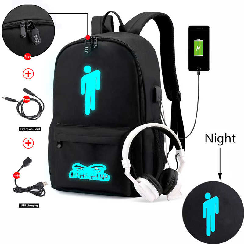 Canvas Luminous Waterproof Billie Eilish Anti-theft Laptop DJ USB Backpack for Boys Girls Student School Backpack MenWomenbag