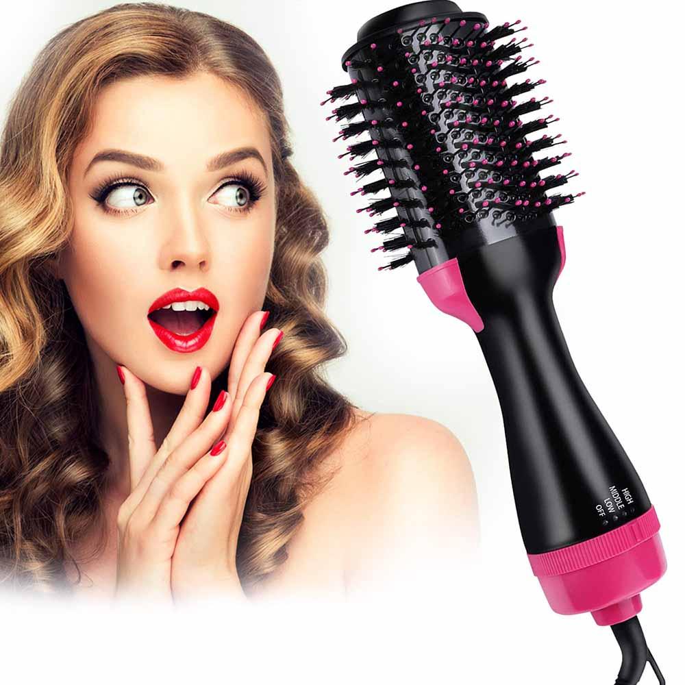 One-step Hair Dryer & Volumizer Styler Rotating Hot Air Brush Big Round Brush Blow Dryer Hair Straightener Comb Curling Brush
