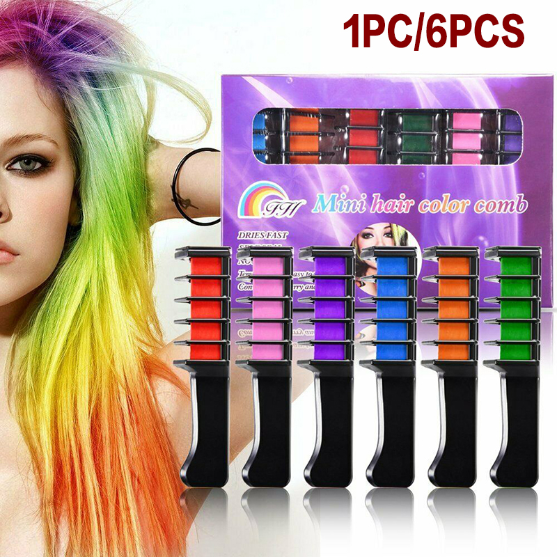 6pcs/1pc Non-toxic Hair Chalk Comb Temporary Hair Dye Comb Pigment Small Comb Hair Care Styling Tools Color Party DIY Cosplay