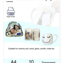 Waterslide Decal Paper Inkjet Art-Printing Transparent Color 10-Sheets/Bag A4-Size