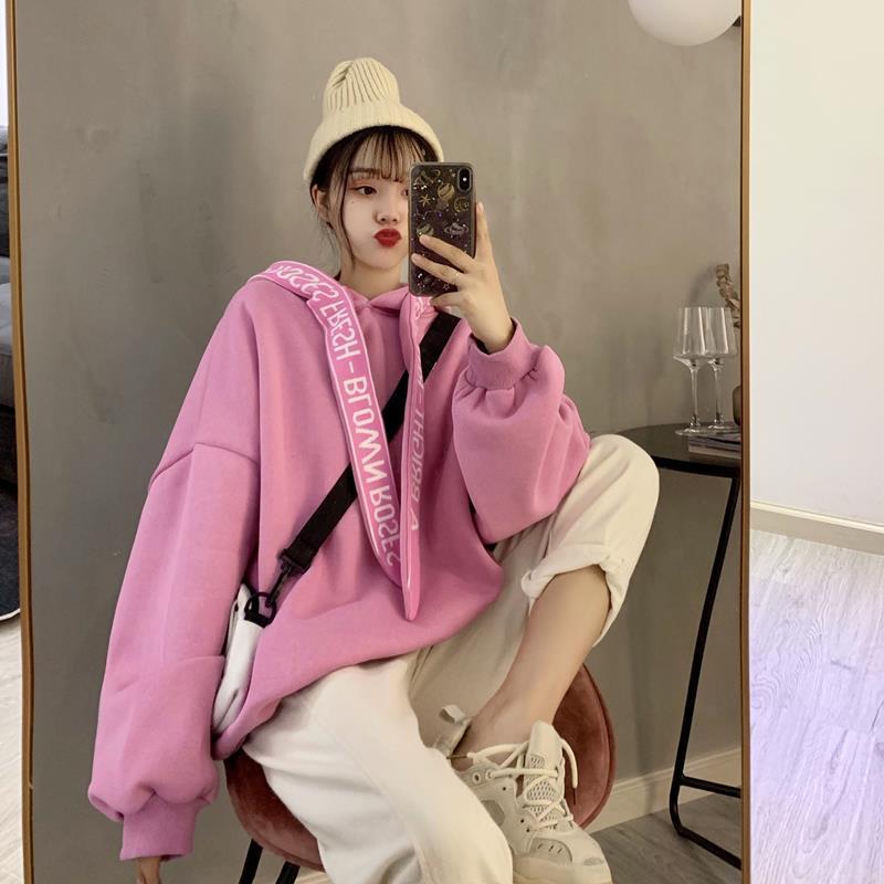 Winter Korea Hooded Plus Velvet Thick Long-sleeved Sweatshirt Women Fashion Loose Ins Harajuku Vintage Female Sweatshirt