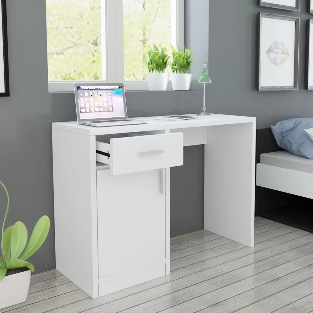 VidaXL Desk With Drawer And Cupboard 100x40x73 Cm White 243058