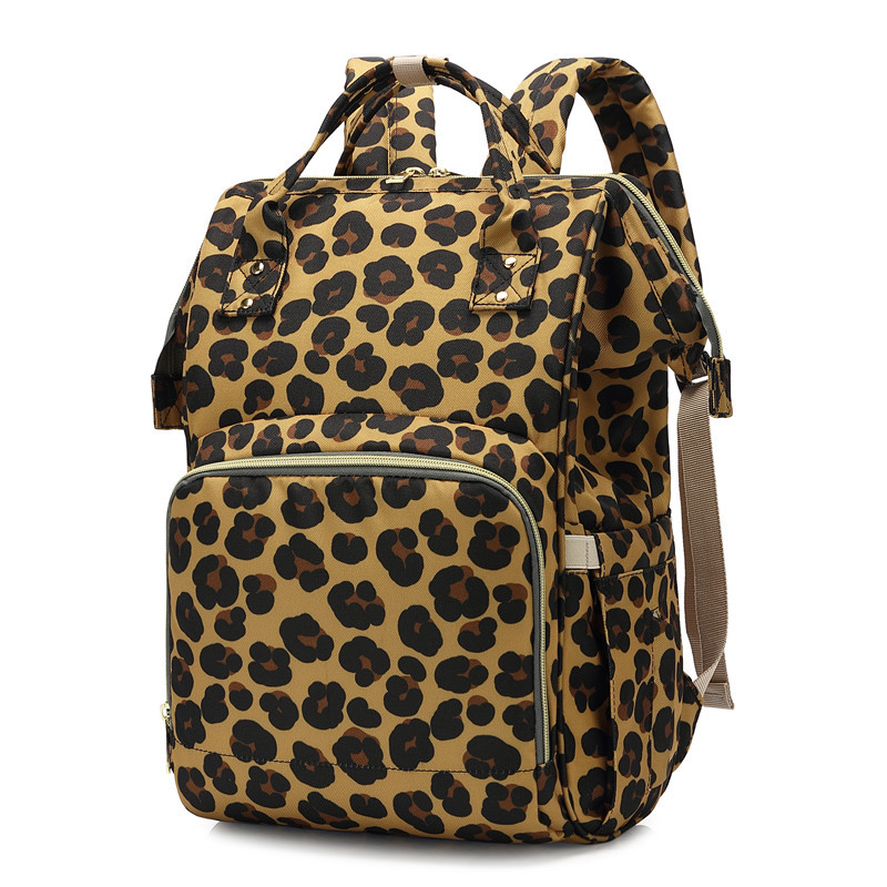 Leopard Print Travel Backpack Baby-Care-Bag Nursing-Bag Zippers Large-Capacity Mummy Mom's Outdoor