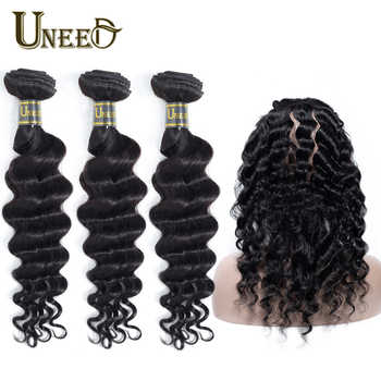 Uneed Hair Malaysian Loose Deep Wave 3 Bundle With 360 Lace Frontal Closure 100% Remy Human Hair Weave Bundles With 360 Frontal - DISCOUNT ITEM  44% OFF All Category