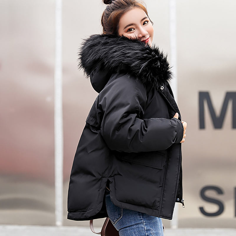 Winter Jacket Women 2019 Fashion Warm Women Down Coat Female Fur Collar Hooded Zipper Outwear Short Winter Down Jacket Women