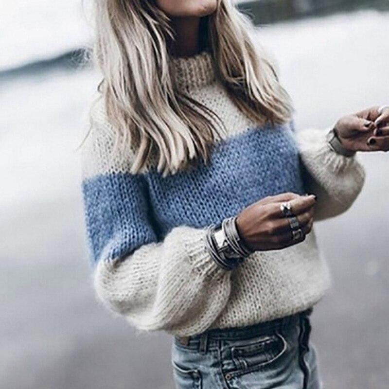Laamei вязаный женский Однотонный свитер с высоким воротником, свободные вязаные свитера с рукавами фонариками, женский осенне зимний свитер|Водолазки|   | АлиЭкспресс