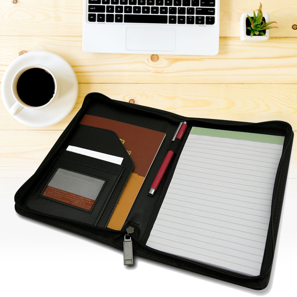 Business Padfolio A5 Manager Padfolio Multi-functional High-end PU Synthetic Leather Portfolio Writing Notepads Meeting Folder