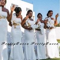 Stylish Gold Appliques Mermaid Bridesmaid Dresses 2020 White Strapless Long Wedding Party Dress Robe Demoiselle D'honneur