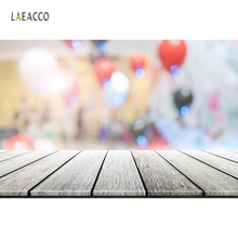 Laeacco Wooden Board Balloons Bokeh Focus Scene Baby Kids Photography Backgrounds Photographic Backdrops Cloth For Photo Studio
