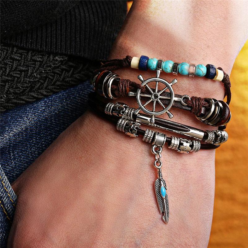 IF ME Fashion Adjustable Multilayer Leather Bracelet Men Male Handmade Wrap Rope Horn Leaf Feather Set Bracelet Bangles Jewelry 2