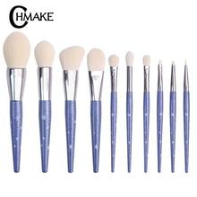 CHMAKE set Makeup brushes 10pcs Metallic Blue beauty Make up brush Soft blush Powder Foundation Eyeshadow