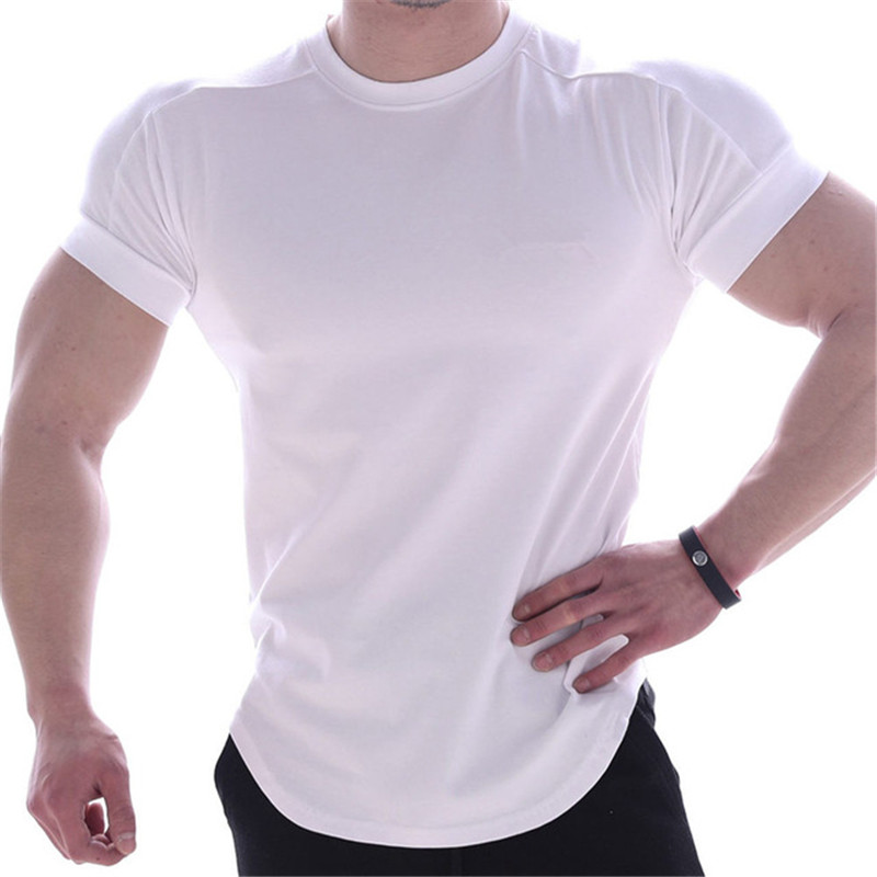 2020 casual T-shirt men's fitness sports cotton T-shirt men's bodybuilding narrow shirt summer tops clothes