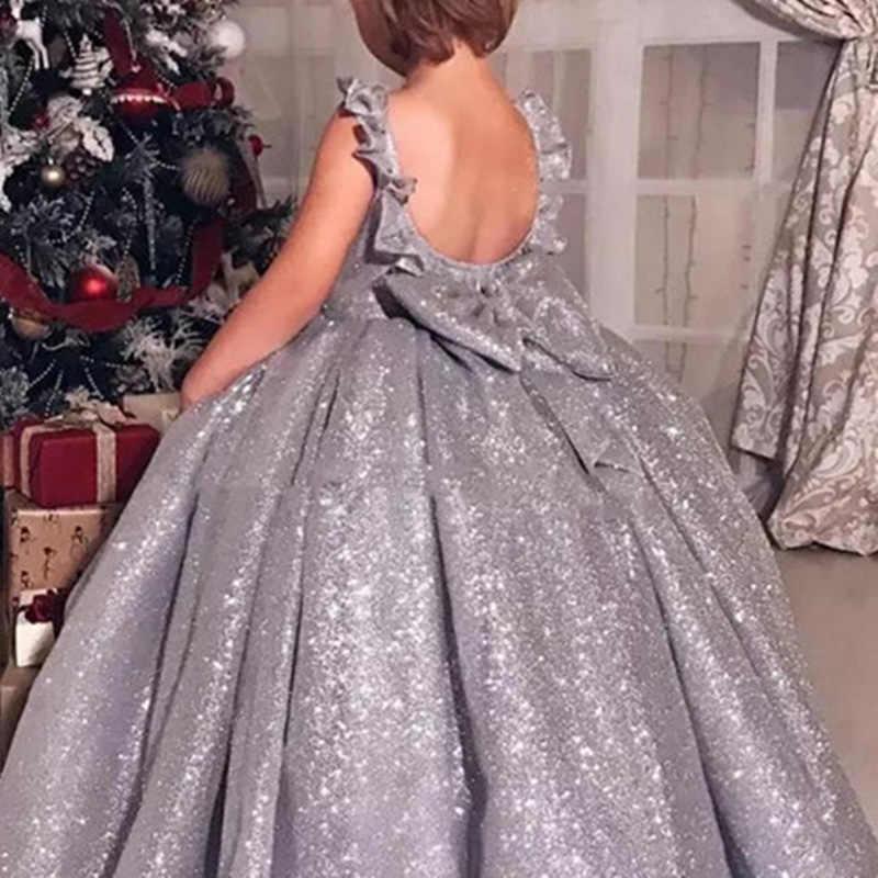 꽃의 소녀 드레스 실버 반짝 이는 민소매 솜털 작은 공주 생일 파티 미인 대회 가운 거룩한 친교 드레스