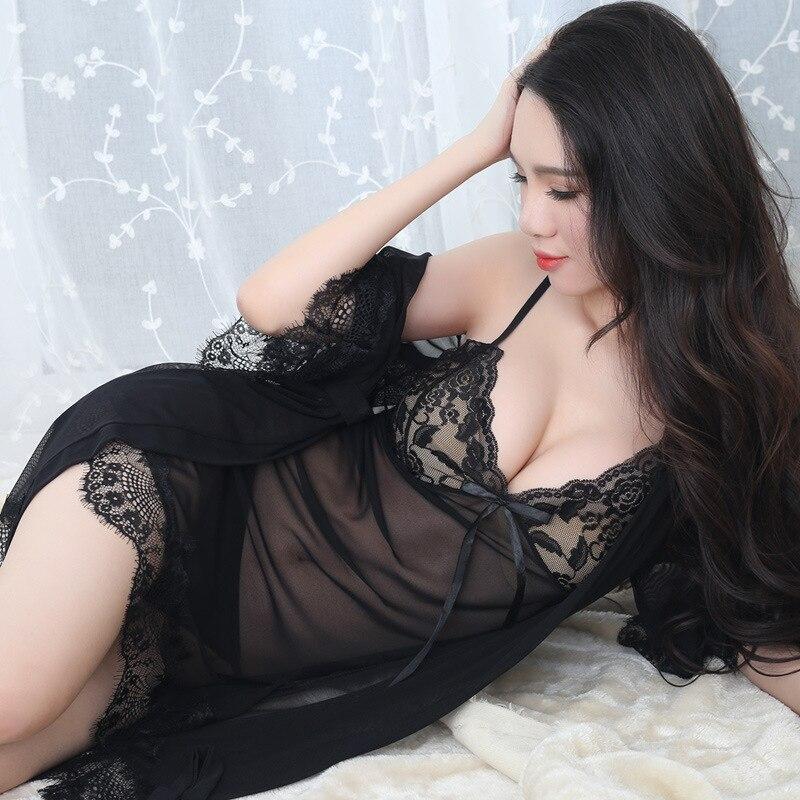 KISBINI Women Sexy Nightdress Robe Set 3PC Adult Erotic Perspective Sling Nightgown Underwear Oversize XXXL Female Sleepwear