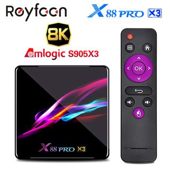 X88 PRO X3 Android 9 0 TV pudełko Amlogic S905X3 czterordzeniowy 5G Wifi 4K 2GB 16GB 4GB 128GB dekoder Google Media YouTube 64GB 32GB tanie i dobre opinie Reyfoon 1000 M CN (pochodzenie) Amlogic S905X3 Quad-core 64bit Cortex-A55 32 GB eMMC 64 GB eMMC 128 GB eMMC HDMI 2 1 4G DDR3