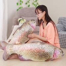 80cm Cartoon Simulation Fish Plush Toy Stuffed Animal Trout 3D Toys Dolls Children Creative Funny Soft Pillow Party Gifts