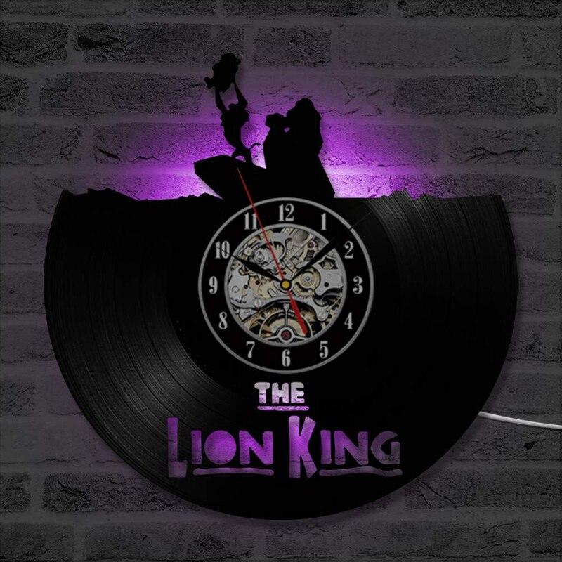 LED Vinyl Record Wall Clock Modern Design Cute Cartoon Decorative Kids Bedroom The Lion King Vinyl Wall Clocks Home Decor