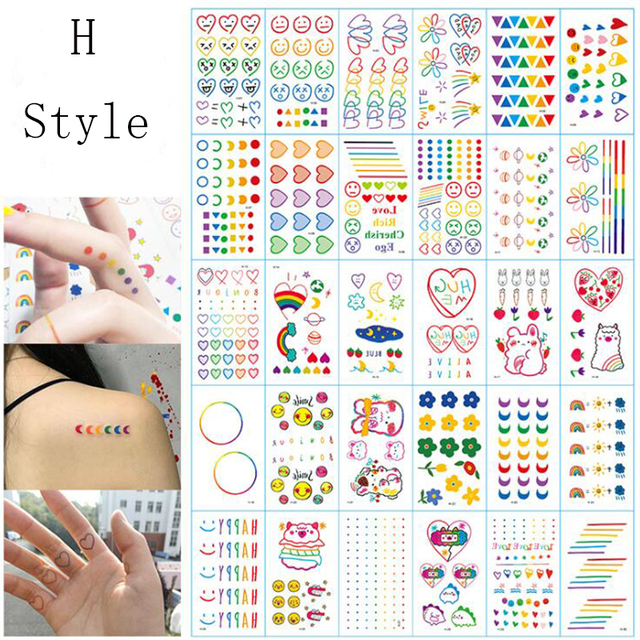 30pcs Art Fake Tattoo Sticker Waterproof Temporary Tattoos on the Body Colorful XuanYa Heart Temporal Tattoos
