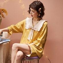 Лето женские пижамы комплект с короткими рукавами ароматный возраст цвет подходящие бантом женская домашняя одежда свободные корейские эластичные брюки одежда для сна