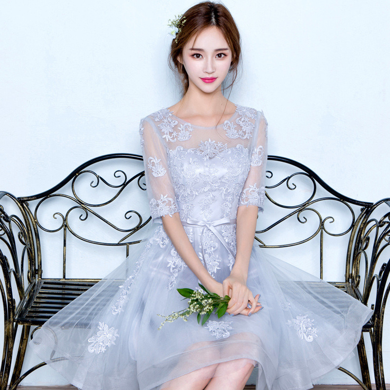 Short Bridesmaid Dresses Wedding Party Dresses For Women O-Neck Lace Appliques Burgundy Infinity Dress Wedding Guest Dress