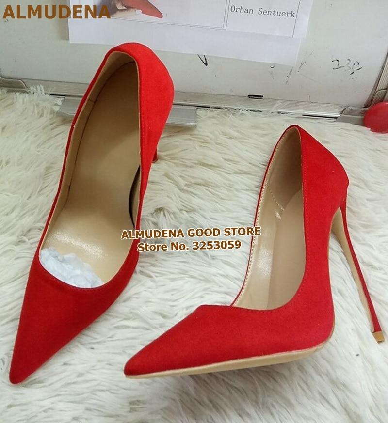 1901S1197 红色绒面尖头单鞋 名流