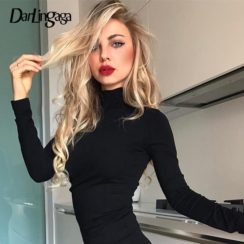 Darlingaga Casual Autumn Winter Fleece Turtnelck Bodysuit Body Women Fitness Warm Long Sleeve Rompers Womens Jumpsuit Sheer Body