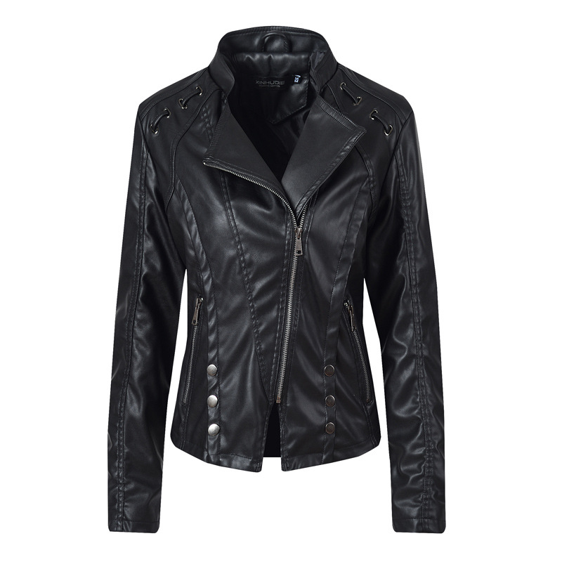 Liva girl 2019 New Spring Women Faux   Leather   Jacket Fashion Black Color Turn-Down Collar Zippers Short Ladies PU   Leather   Jacket
