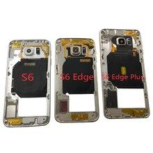 Montatura in metallo per Samsung Galaxy S6 Edge Plus G920 G925 G928 telefono originale nuovo telaio del corpo della custodia con obiettivo della fotocamera cornice centrale