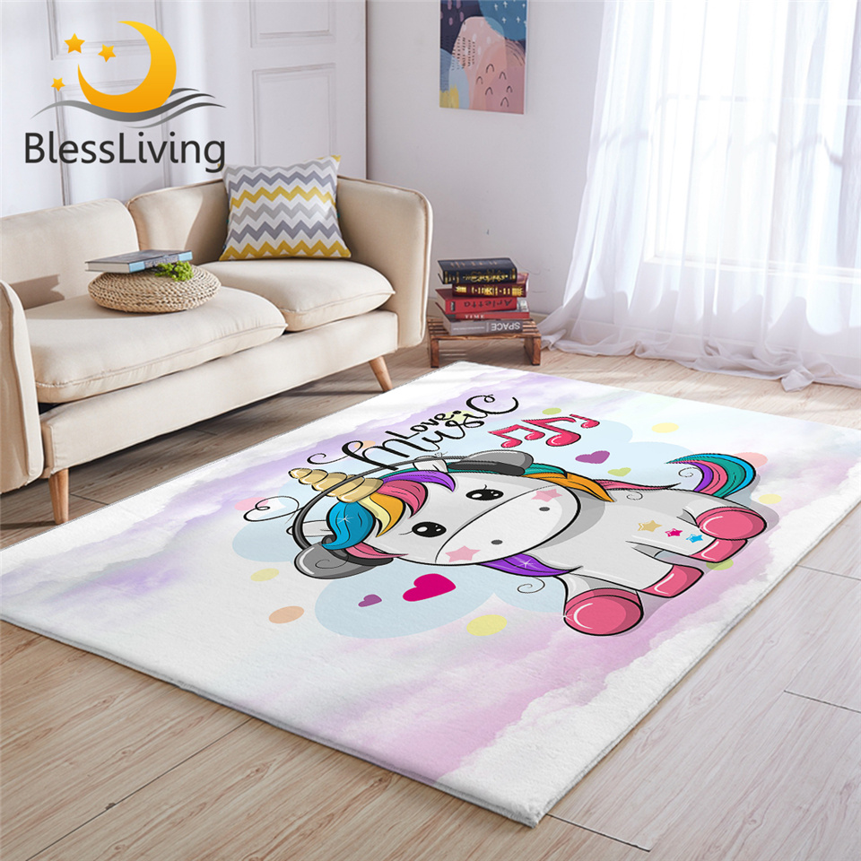 BlessLiving Cute Unicorn Carpet Kids Room Rainbow Hair Rug Music Cartoon Living Room Carpet Fairy Tale Colorful Tapete Infantil
