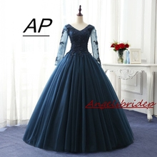 Ball-Gown Quinceanera-Dresses Charming ANGELSBRIDEP Tulle Appliques Long-Sleeves Puffly