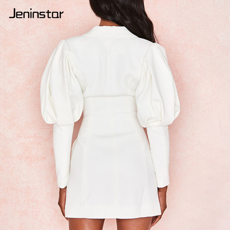 Jeninstar Autumn Single Breasted Sexy Women Blazer Lantern Sleeve Notched Women Coat 2019 Lapel White Casual Ladies Jacket Tops