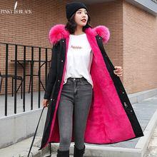PinkyIsBlack-30 градусов, одежда для снежной погоды Длинные парки зимняя куртка Для женщин с меховым капюшоном Костюмы женский Меховая подкладка Толстое Зимнее пальто Для женщин