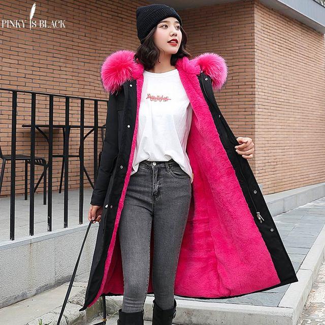 PinkyIsBlack Parkas largas para nieve de 30 grados para mujer, chaqueta de invierno, ropa con capucha de piel, abrigo de invierno grueso con forro de piel para mujer