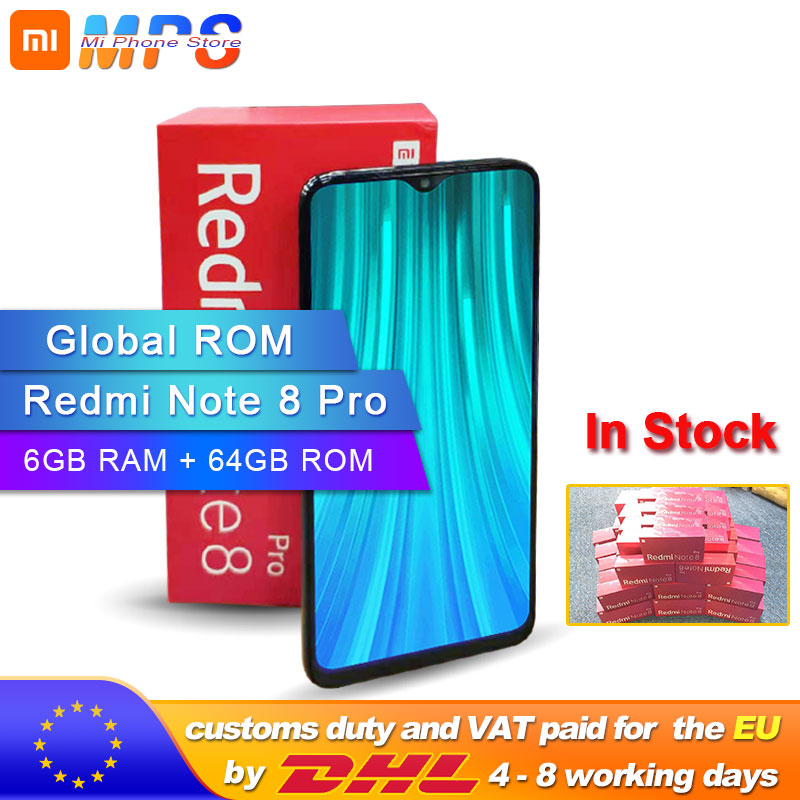 Rom global xiaomi redmi nota 8 pro 6 gb 64 gb smartphone octa núcleo mtk helio g90t 64mp câmera traseira 4500 mah 2040x1080 telefone