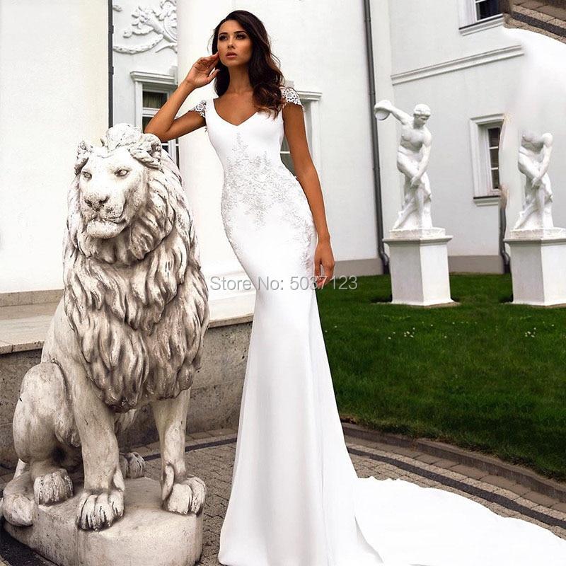 Satin Mermaid Wedding Dresses Cap Sleeves V Neck Open Back Bridal Wedding Gown Vestido De Noiva Lace Appliques Court Train