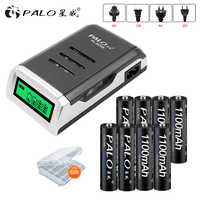 PALO 8pcs AAA rechargeable battery aaa batteria ni-mh 1.2v batteries with LCD display charger for aa aaa ni-mh ni-cd battery