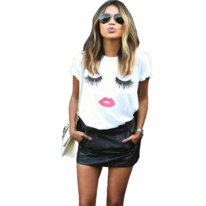 Eyelash Red Lips Tshirts Print Letters Female T-shirt Plus Size Summer Tee Shirt Femme Harajuku Shirt Women Tops